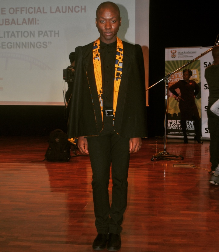 Welcome Moyo, the co-MC of the event, wore a custom made cape blazer by Olgah Wilson.
